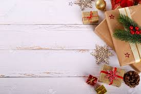 decorations with festive ornaments and gift boxes on