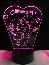 baise bureau romantique baiser enfants je t aime 7 couleurs gradient led nuit