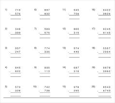 sample vertical subtraction worksheet 12 documents in pdf word