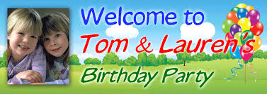 party banner welcome to the birthday party banner with photograph