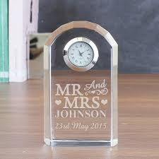 wedding clocks gifts personalised wedding or anniversary glass mantel clock