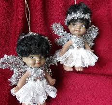 2 vintage black baby dolls christmas tree fairy decorations