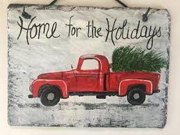 home for the holidays welcome sign painted slate christmas sign