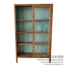 wood and glass cabinet retro java cabinet display 2 sliding doors with shabby vintage paint