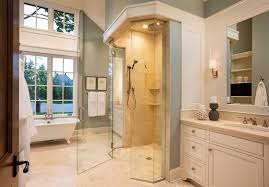 French Country Roman Shades - limestone shower bathroom asian with four light wall sconce asian