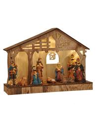Outdoor Plastic Light Up Nativity Scene by Pre Lit Wooden Nativity Scene Traditional Led Christmas Decoration