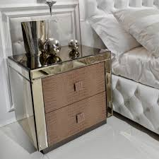 Bedside Tables Alligator Embossed Pattern Leather And Mirrored Bedside Table