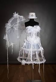 white victorian zombie ghost burlesque corset costume dress with