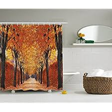 amazon com nature shower curtain by ambesonne fall road in park