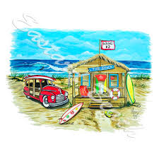 beach shack surf woody scene vinyl decal sticker car home truck