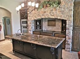 rustic kitchen with complex granite counters u0026 raised panel in
