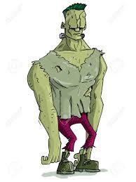 cartoon frankenstein monster with green skin for halloween