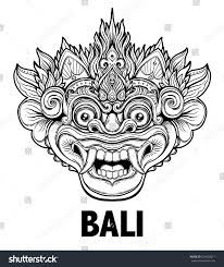 african mask coloring pages barong traditional ritual balinese mask vector stock vector