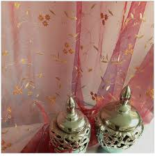fl gold embroidered organza sheer curtains panels
