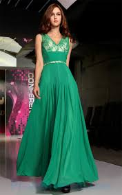 buy tailor made lace v neck empire chiffon ruffles green prom