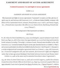 easement use and right of access agreement sample easement use