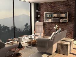 Modern Brick Wall by Living Room Modern Minimalist Living Room Design With Exposed