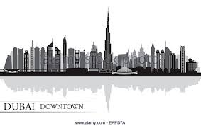 dubai city skyline silhouette background cut out stock images