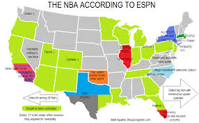 map of nba teams map the nba as seen by espn the sports geeks