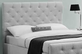 King Size Mattress Pad Buckingham Grey Fabric Upholstered Buttoned Headboard Bed Double