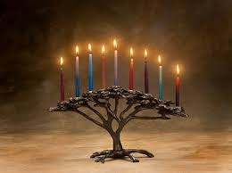 tree of menorah cast bronze 9 candle for hanukkah or