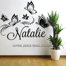 personalized custom butterflies butterfly flower name vinyl decal custom made kids name please leave a massage in your order if you don t provide the name of your kids we will send default name to you