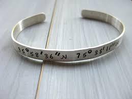 personalized cuff bracelet 925 sterling silver latitude longitude cuff bracelet