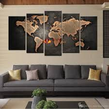 World Map Home Decor 2017 5 Panel Large Canvas Art Modern Abstract Wall Art Painting