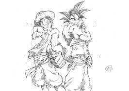 luffy and son goku by marvelmania on deviantart