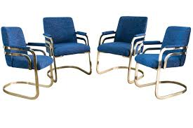 set of four chromcraft sculptural brass dining chairs sold