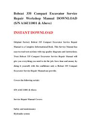 bobcat 335 compact excavator service repair workshop manual download u2026