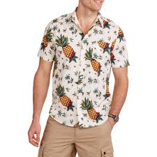 Halloween Maternity Shirts Walmart by Straight Faded Men U0027s Short Sleeve Woven Pineapple Print Hawaiian