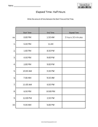 elapsed time worksheets teaching squared