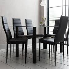 black u0026 white glass dining table set with 6 faux leather chairs