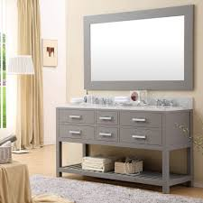 Mirrored Bathroom Vanities Cadale 60 Inch Gray Finish Double Sink Bathroom Vanity Two Mirrors