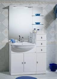 armadietto bagno con specchio mobile bagno cleo bianco con lavabo a semincasso bh