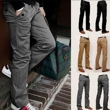 mens casual pencil dress pants loose fitted straight leg jeans