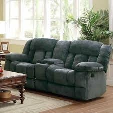 furniture black leather dual reclining loveseat brown suede couch