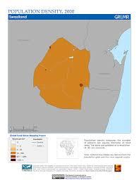 Swaziland Map Maps Population Density Grid V1 Sedac
