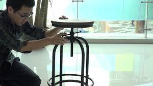 ikayaa industrial style height adjustable swivel bar stool youtube