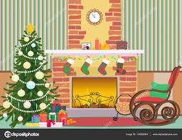 christmas livingroom flat interior vector illustration christmas