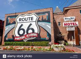 Route 66 Illinois Map by Illinois Pontiac Historic Route 66 Mural Wishing Well Motel Stock