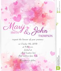wedding invite templates wedding invitation template with pink hearts stock vector