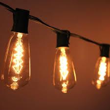 Edison Patio Lights 10 Socket Patio String Light St40 Edison Spiral Bulbs 10ft Black
