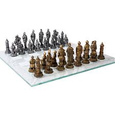medieval knights chess set with glass board 3 3 4 inch high