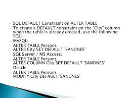 Alter Table Modify Column Oracle Lec 7 The In Operator The In Operator Allows You To Specify