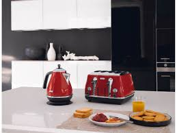 Delonghi Kettle And Toaster Sets Delonghi Cto4003r Icona 4 Slice Red Toaster At The Good Guys