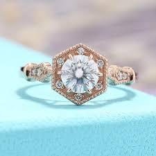 brilliant rings images Moissanite engagement ring vintage engagement ring rose gold jpg