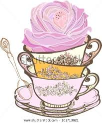 tea cup background spoon flowervector illustration stock vector