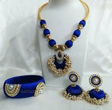 necklace making set images Navy blue pearls silk thread jewellery set silk thread silk and jpg